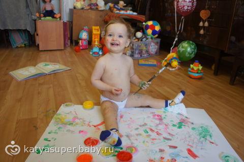 Пальчиковые краски для малышей до года своими руками 1