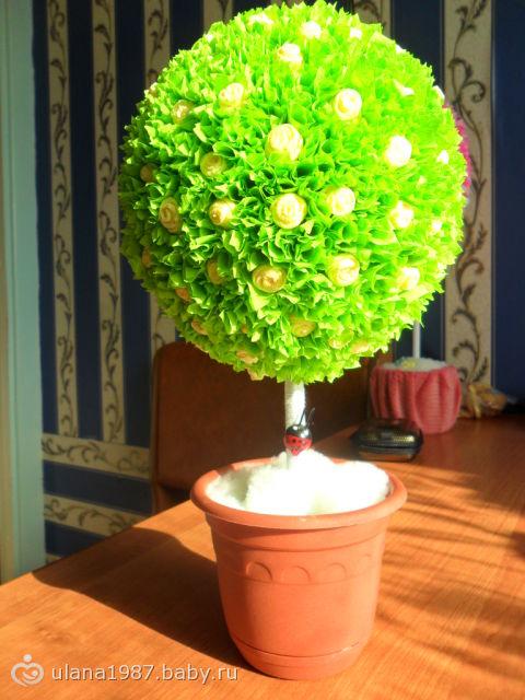 Дерево счастья из салфеток своими руками фото