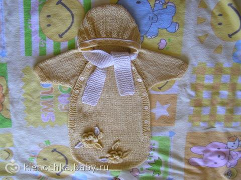Вязанный конверт для новорожденных своими руками